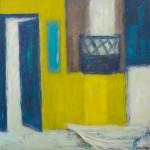 »Balkon mit Boot«, 2014, 100 x 100 cm
