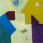 »Innenhof mit dunklem Bett« 2014, 100 x 100 cm