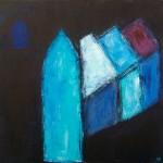 »Kirchenschiff mit blauem Haus«, 2013, 100 x 100 cm