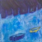 »Violette Markisen (Gelb sind die Unterkleider der Gespenster)«, 2014, 80 x 80 cm